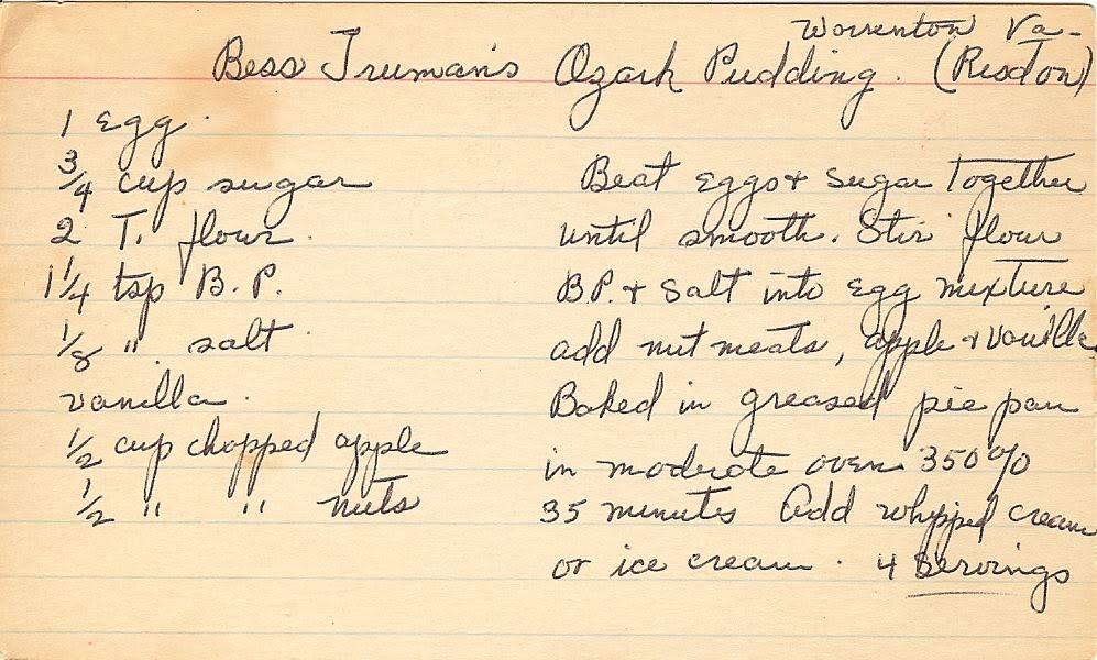 Bess truman s ozark pudding recipes